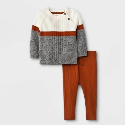Baby Boys' Marl Sweater Top & Bottom Set - Cat & Jack™ Brown 3-6M