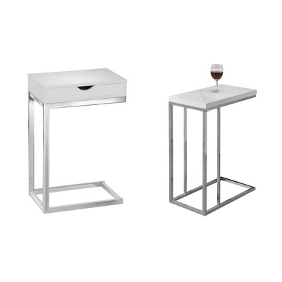 Monarch Specialties Contemporary End Table & Accent End Table, Glossy White