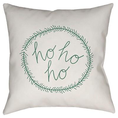 White/Green Ho Ho Ho Throw Pillow 20 x20  - Surya