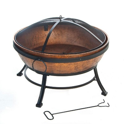 DeckMate 30371 Avondale Outdoor Backyard Patio Portable Steel Fire Bowl Fire Pit, Antiqued Copper Finish