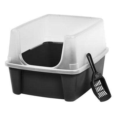 IRIS Open Top Litter Box with Scoop - Black