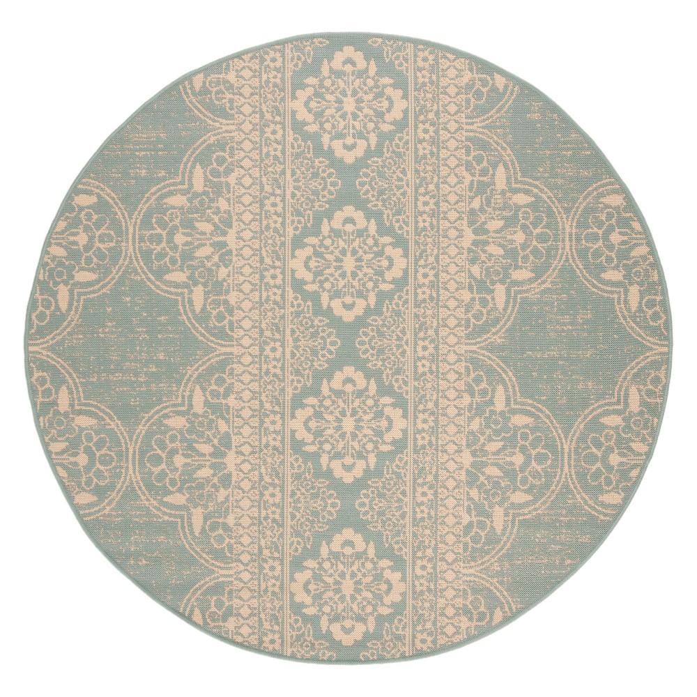 6'7 Medallion Loomed Round Area Rug Cream/Aqua (Ivory/Blue) - Safavieh