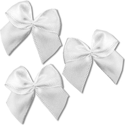 Bright Creations 200-Pack Mini Satin Ribbon Bow w/ Self-Adhesive Tape for Arts and Crafts, Sewing & Gift, White 1.5""