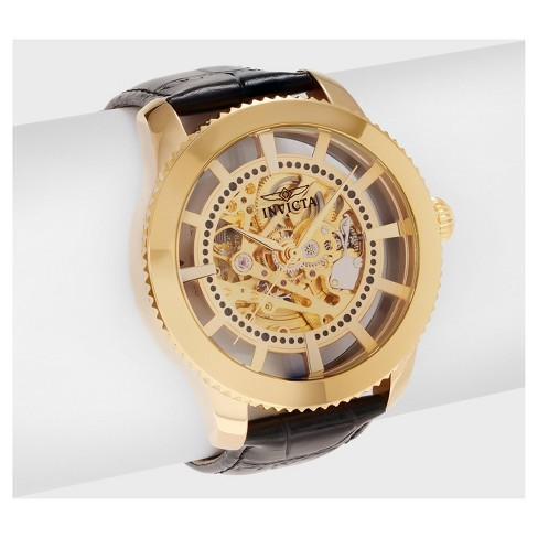 Men's Invicta Vintage 22571 Stainless Steel Transparent Skeleton Dial Leather Strap Watch - Gold/Black - image 1 of 3
