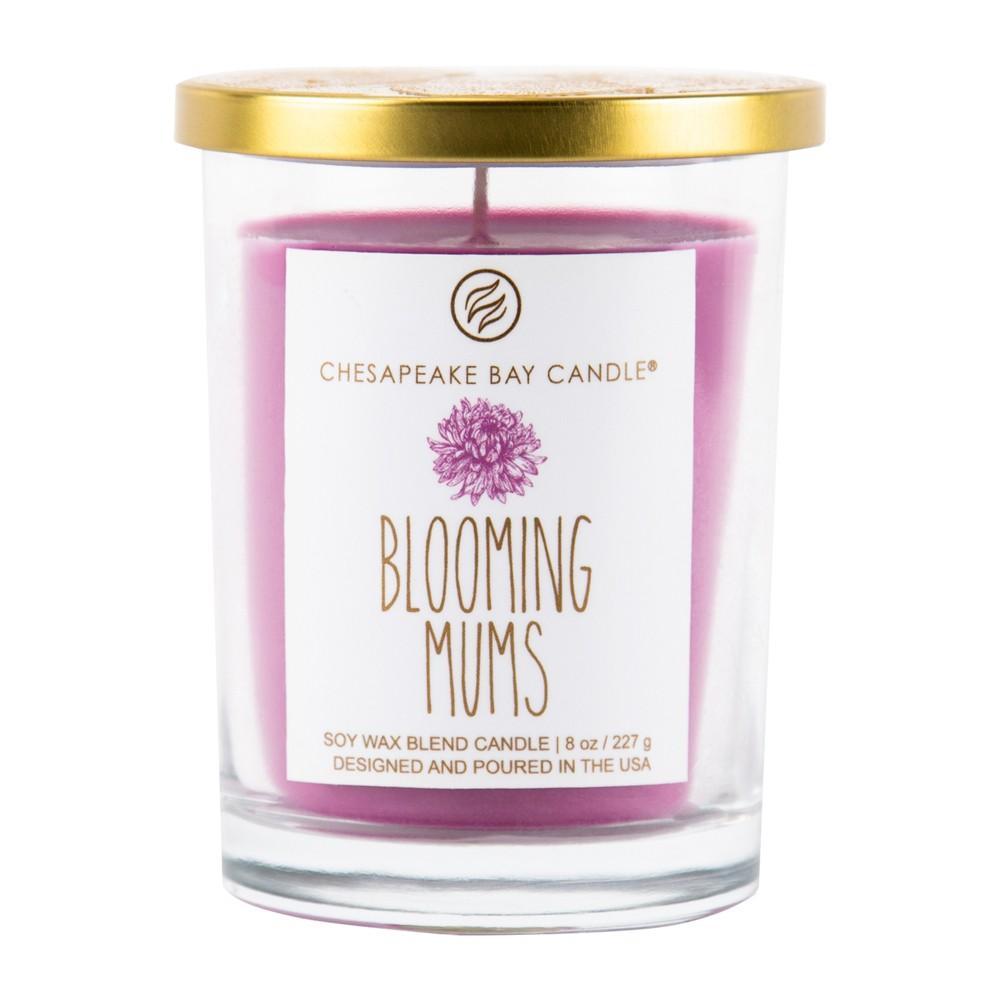 8oz Medium Glass Jar Candle Blooming Mums - Chesapeake Bay Candle, Purple