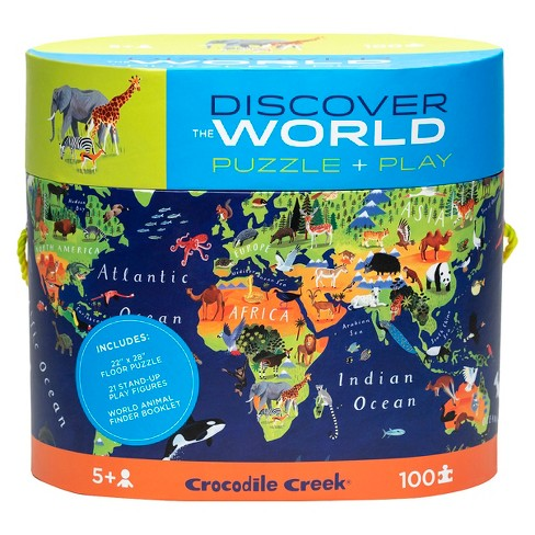 Crocodile Creek Discover: World Map Puzzle 100pc - image 1 of 4