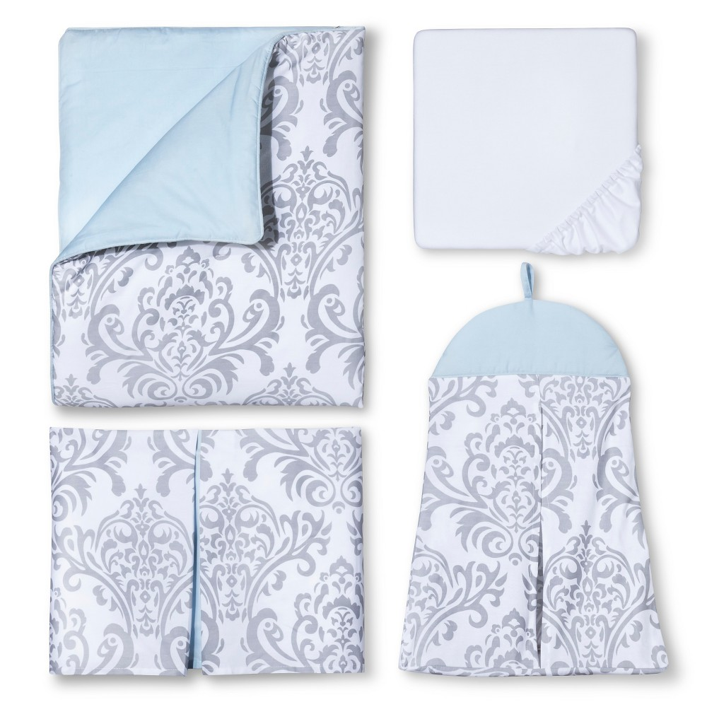 Sweet Jojo Designs 11pc Blue Avery Crib Bedding Set - Blue-Grey-White, Blue Gray White