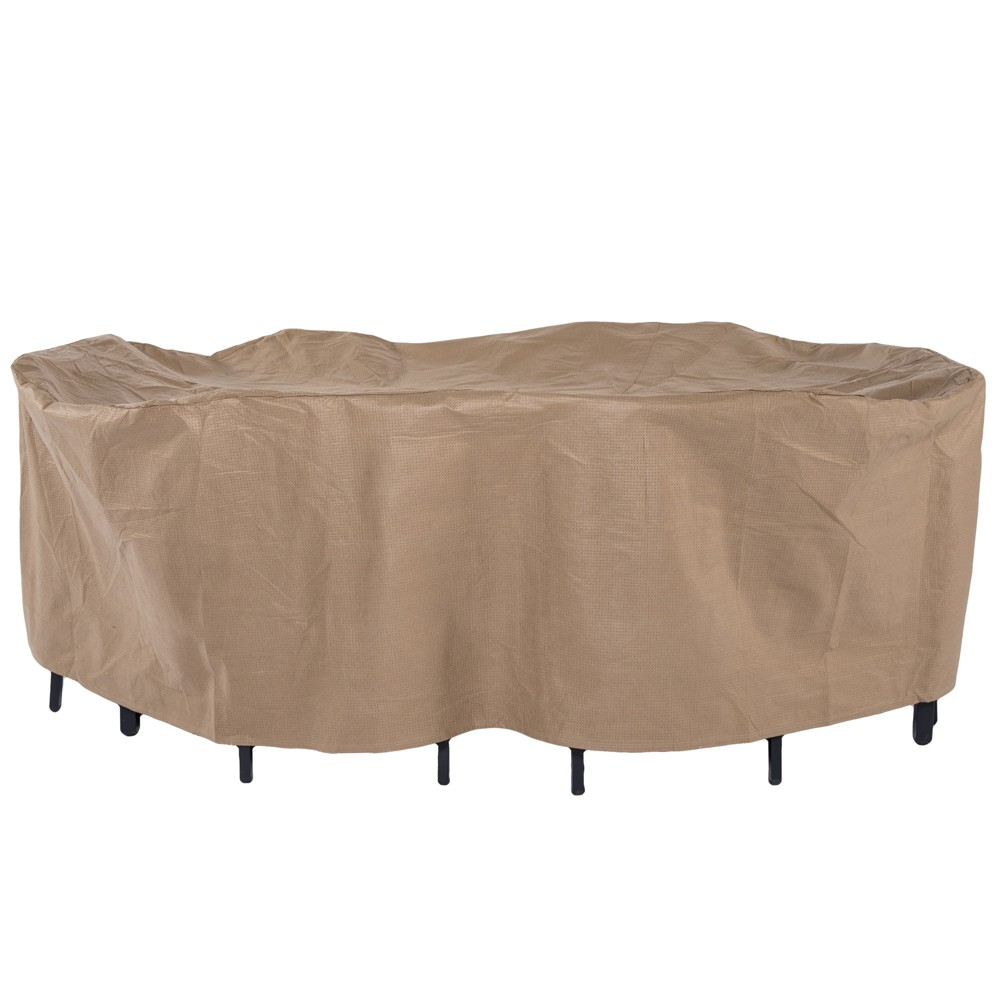 "Image of ""109""""L Essential Rectangular/Oval Patio Table & Chair Set Cover Cafe Latte - Classic Accessories"""
