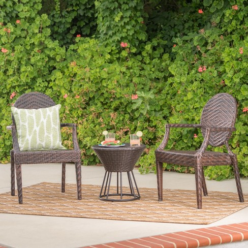 Harrison 3pc Wicker Chat Set - Multibrown - Christopher Knight Home - image 1 of 4