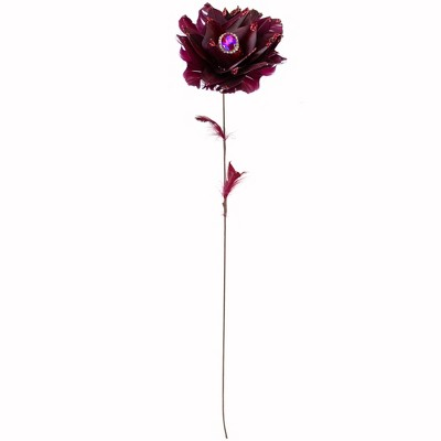 """Northlight 20.75"""" Deep Red Feather Peony Artificial Christmas Floral Pick"""