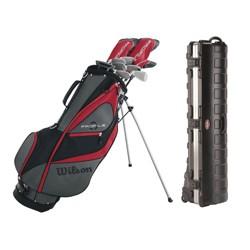 Wilson Men's Left Handed Golf Club Set & Plastic Wheeled Golf Bag Travel Case