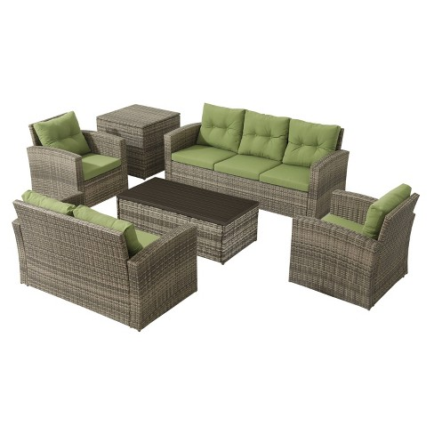 6pc Wicker Rattan Patio Sofa Set with Green Cushions - Accent Furniture - image 1 of 4