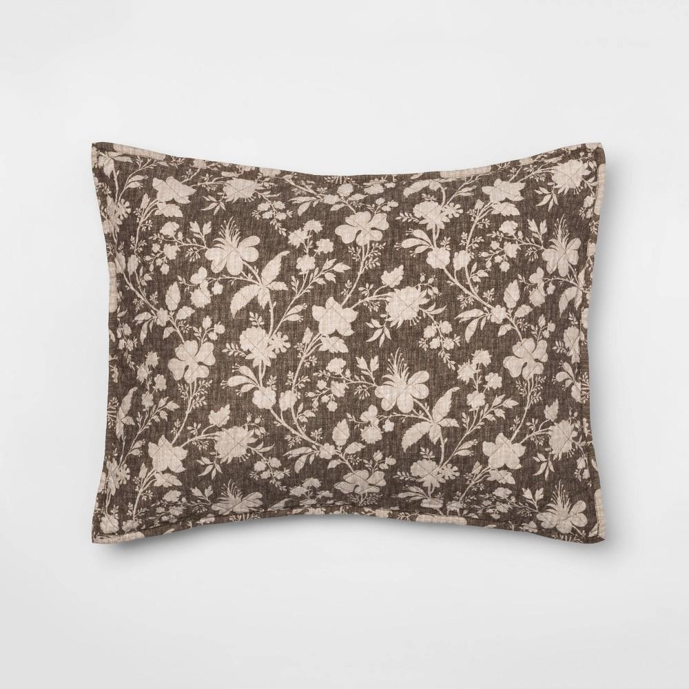 Standard Family Friendly Floral Pillow Sham Natural Threshold 8482