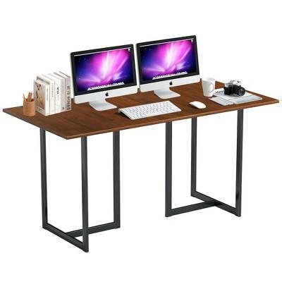 Costway 60'' Computer Desk Large Office Desk Study Workstation w/ Wood Top & Metal Frame