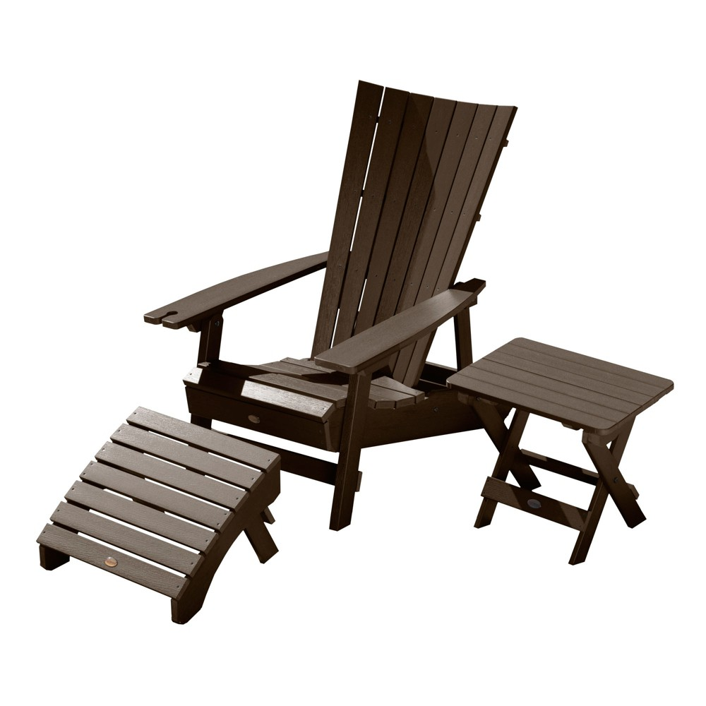 Manhattan Beach Adirondack Chair with Wine Glass Holder with Folding Adirondack Side Table & Ottoman Weathered Acorn - Highwood