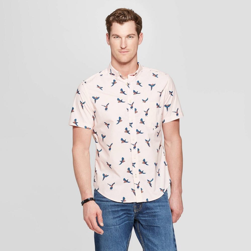 Men's Printed Standard Fit Short Sleeve Poplin Button-Down Shirt - Goodfellow & Co Dusk Pink M