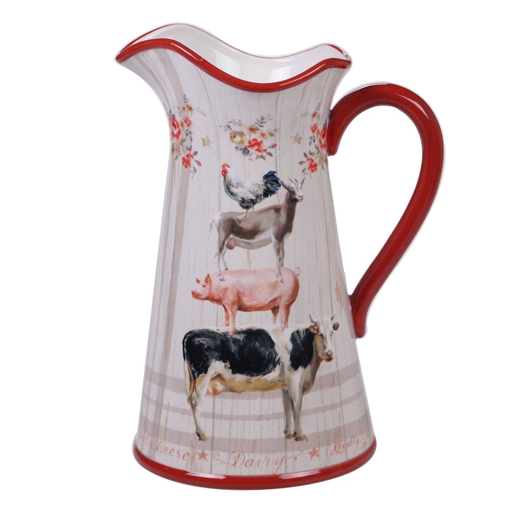 Image of 96oz Earthenware Farmhouse Beverage Pitcher White - Certified International