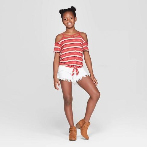 410abb5c80193a Girls  Short Sleeve Tie Front Cold Shoulder T-Shirt - art class™ Red. Shop  all Art Class