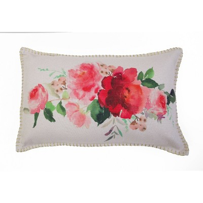 Rena Watercolor Floral Printed Pillow With Gold Metallic Whipstitch Pink - Décor Therapy
