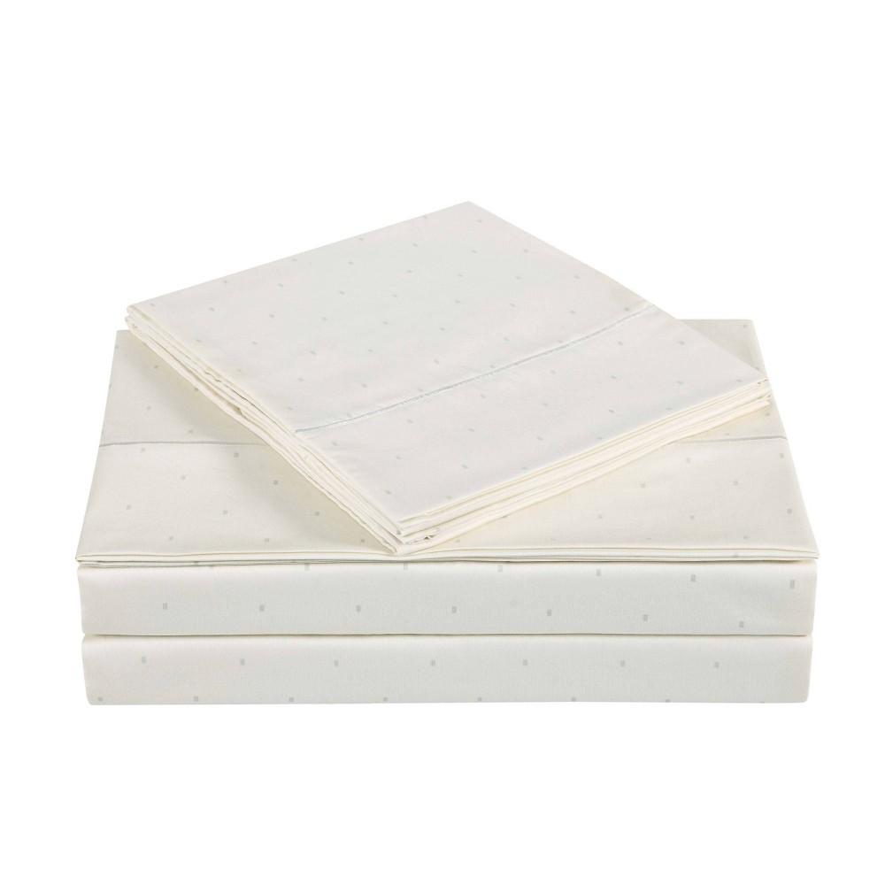 King 310 Thread Count Classic Dot Printed Cotton Sheet Set Almond Milk Charisma