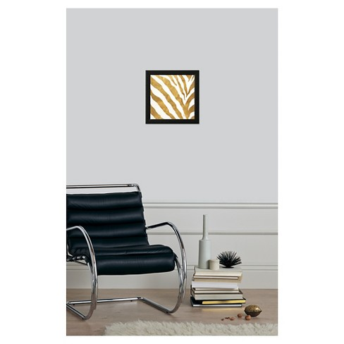gold contemporary zebra gold foil framed art print target