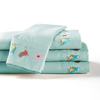 Lakeside Spring Bird Whisper Bedding Sheets Set - Queen - Blue - 4 Pieces