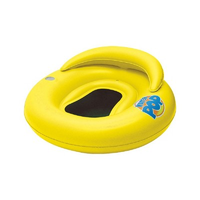 """Swim Central 50"""" Inflatable Yellow Water Pop Floating Lounger with Black Mesh Seat"""