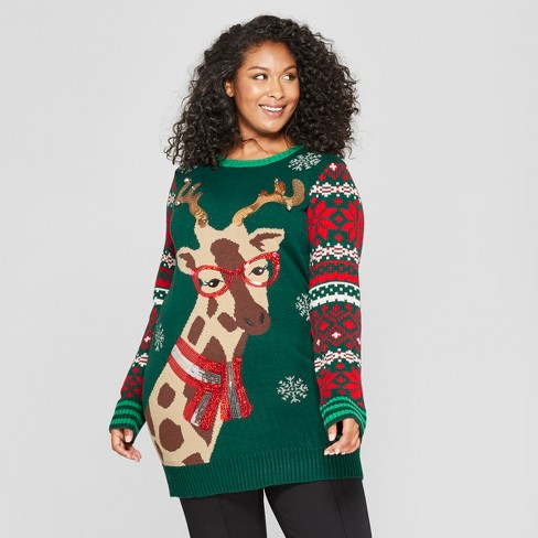 Womens Plus Size Christmas Giraffe Ugly Sweater 33 Degrees