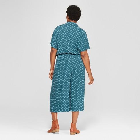 55453887d6cd Women s Plus Size Printed Tie Front Jumpsuit - Universal Thread™ Blue 1X    Target