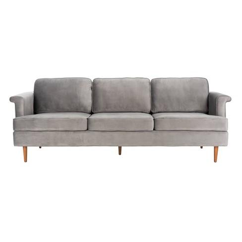 Bunny Wooden Leg Sofa Dark Gray - Safavieh