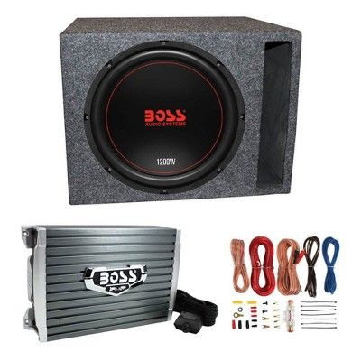 Boss Chaos Exxtreme CXX124DVC 12-Inch 1200W 4 Ohm Subwoofer with QSBASS12-VENTED Vented Subwoofer Enclosure Box, AR1500M Amplifier & AKS8 Wiring Kit