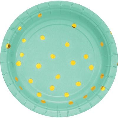 24ct Fresh Mint Green and Gold Foil Dot Dessert Plates Green