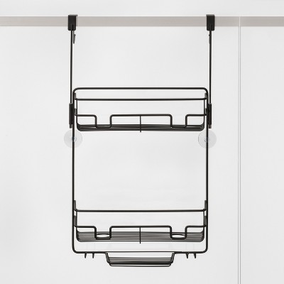 Over the Door Round Wire Shower Caddy Black - Made By Design™