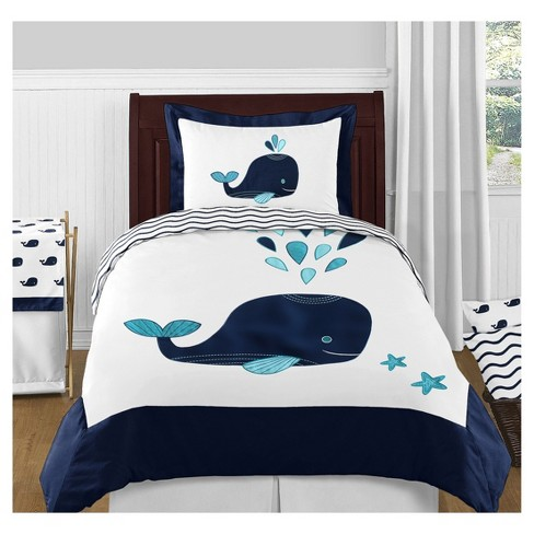 White & Blue Whale Comforter Set (Twin) - Sweet Jojo Designs - image 1 of 3