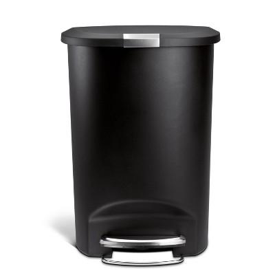 Simplehuman 50L Semi Round Plastic Step Trash Can Black