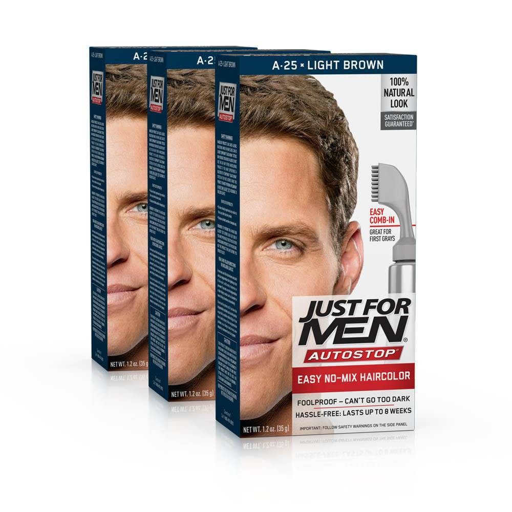 Image of Just For Men Auto Stop Light Brown Permanent Hair Color - 3pk