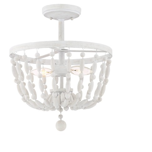 Distressed Wood Semi Flush Mount Ceiling Lights with Distressed Wood Beads (Set of 2) - Filament Design - image 1 of 1