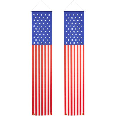 Okuna Outpost 2 Pack American Flag Banner for Patriotic 4th of July Election Party Decorations 14 x 72 in