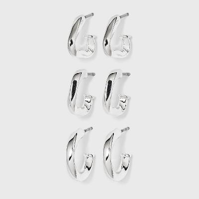 Multi Shape Hoop Trio Earrings - A New Day™ Silver