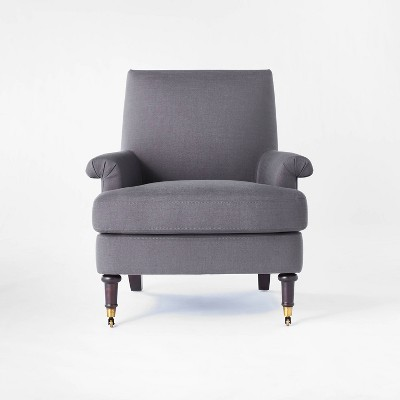 Mercer Rolled Upholstered Armchair with Casters - Threshold™ designed with Studio McGee