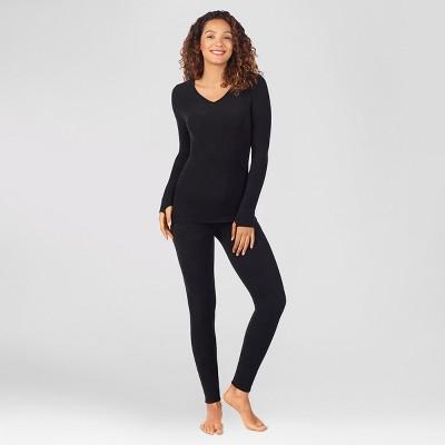 Warm Essentials by Cuddl Duds Women's Textured Fleece Thermal Leggings - Black