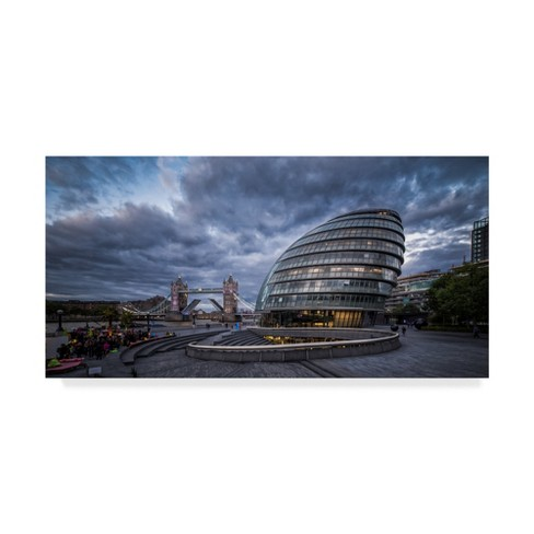 "Trademark Fine Art 19"" x 10"" Giuseppe Torre 'City Hall 2' Canvas Art - image 1 of 3"