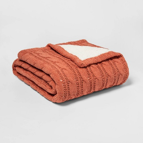 Solid Cable Knit Chenille with Sherpa Reverse Throw Blanket - Threshold™ - image 1 of 1