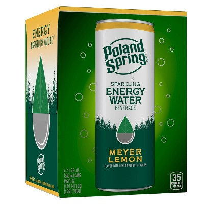 Poland Spring Meyer Lemon Energy Water - 4pk/11.15 fl oz Sleek Can