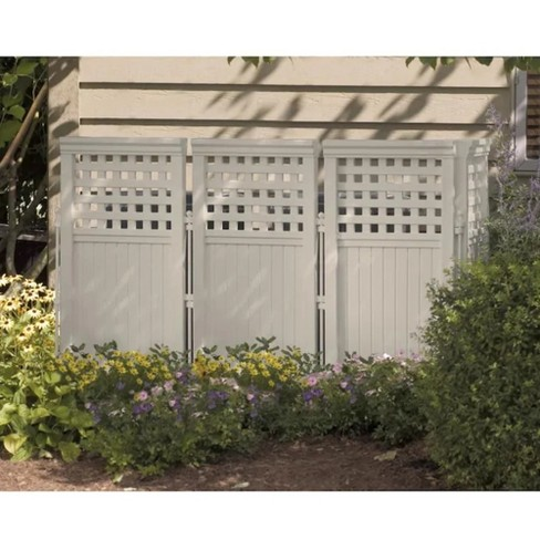 Suncast FS4423T Outdoor Garden Yard 4 Panel Screen Enclosure Gated Fence, Taupe - image 1 of 3