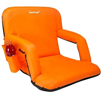 Driftsun Padded Folding Portable 6 Position Reclining Cushioned Stadium Seat Chair with Side Beverage Cup Holder and Backpack Carry Straps, Orange