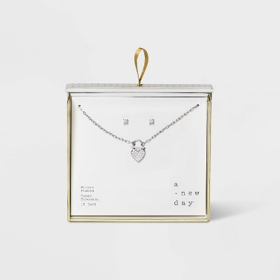 Silver Plated with Cubic Zirconia Pave Heart Padlock Necklace and Earring Set - A New Day™ Silver