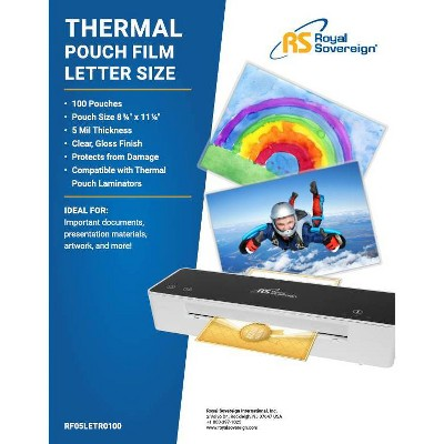 Royal Sovereign 100ct Letter Size 5 Mil Thermal Pouch Laminating Film