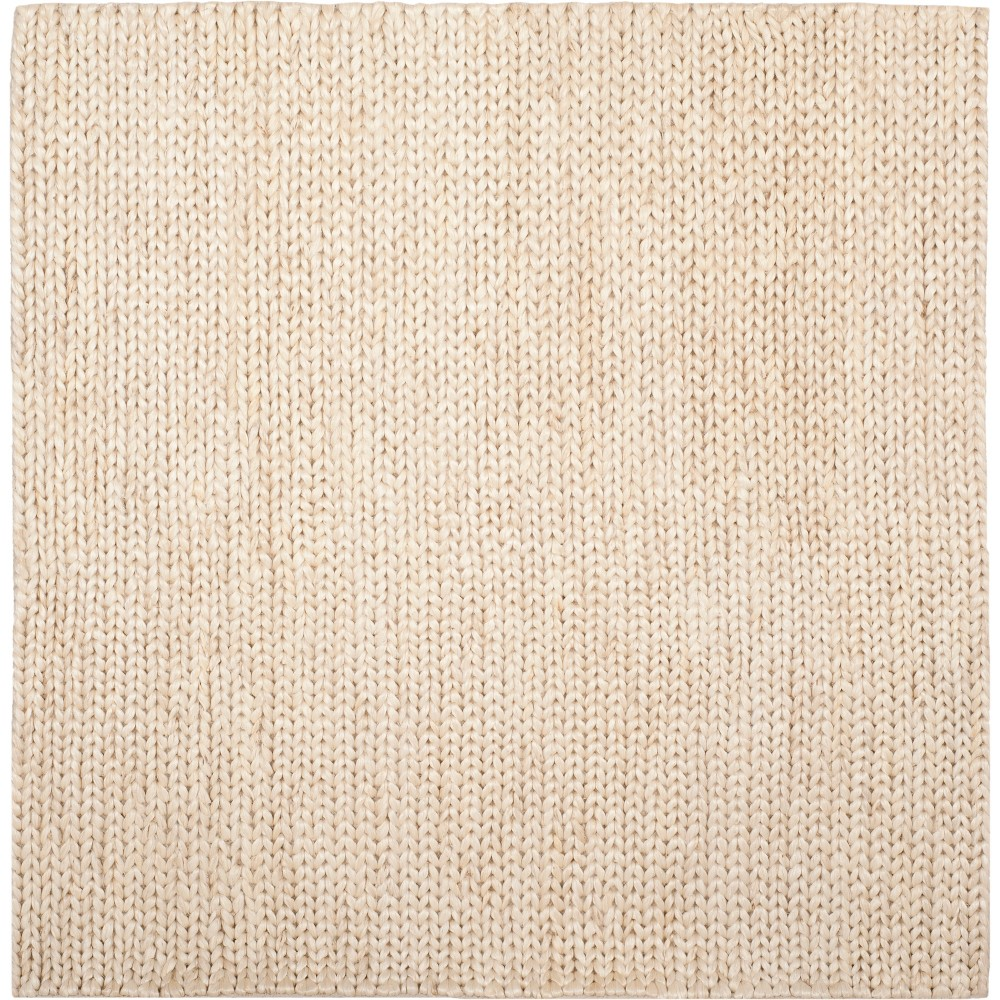 6'X6' Solid Woven Square Area Rug Ivory/Light Gray - Safavieh, White