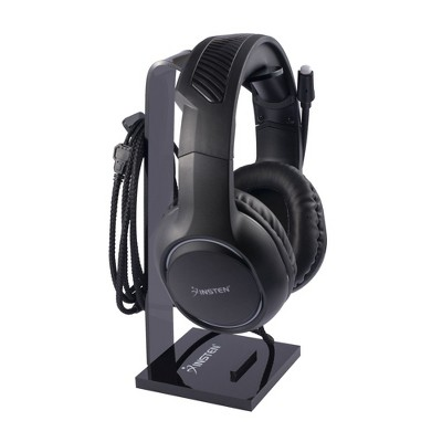 Insten Acrylic Headphone Stand, Universal Desk Headset Holder with Cable Orgainizer Perfect For Gaming Home Office, Black